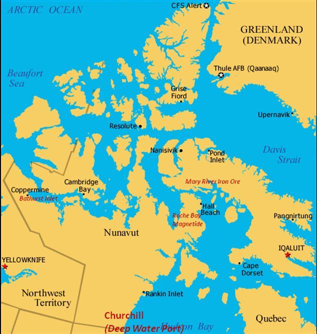 Map Of Canada Davis Strait.Arctis Canadian Ports On The Northwest Passage